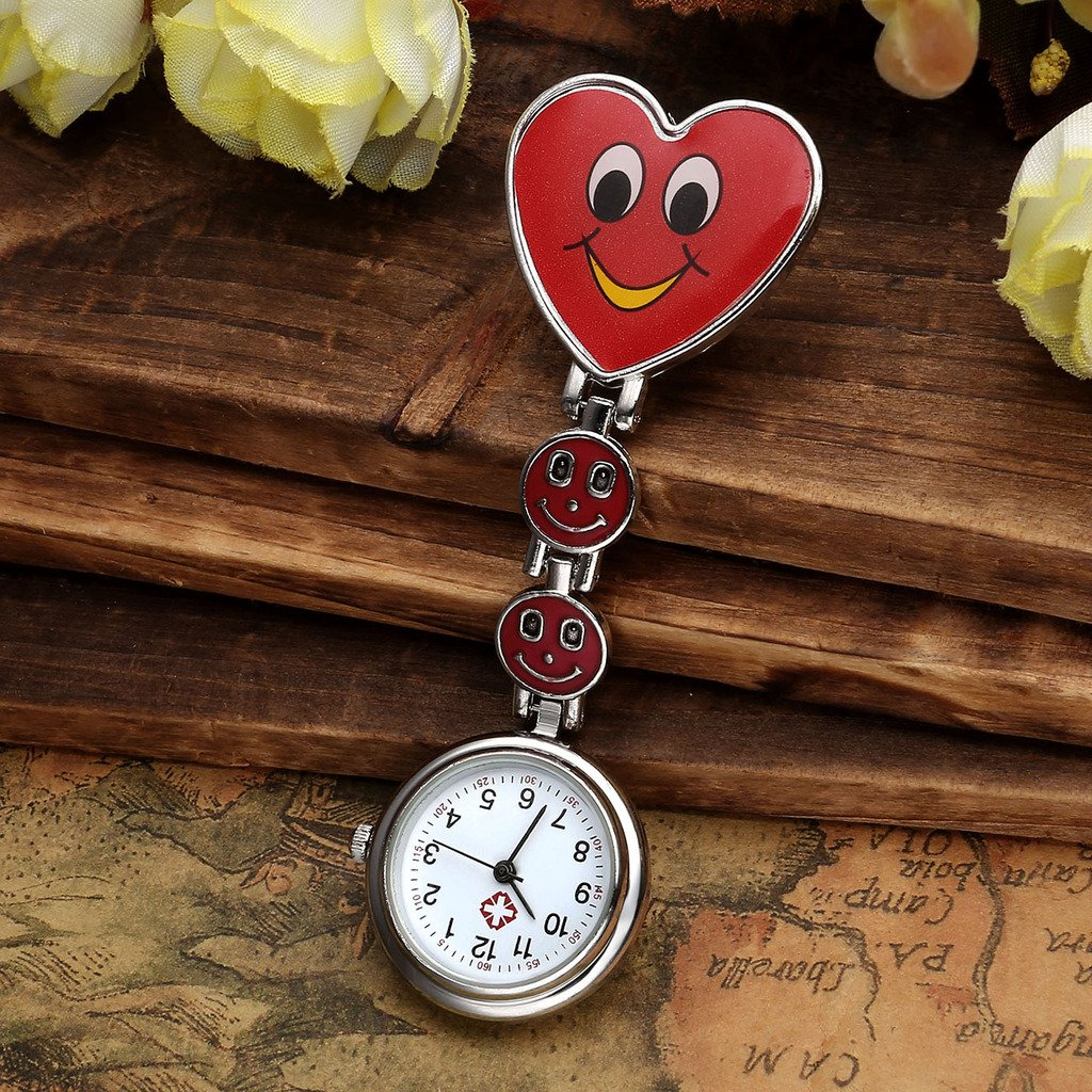 Top Plaza Pack of 5 Colorful Heart Smiling Face Nurse Fob Clip On Brooch Hanging Pocket Watches by Top Plaza (Image #2)