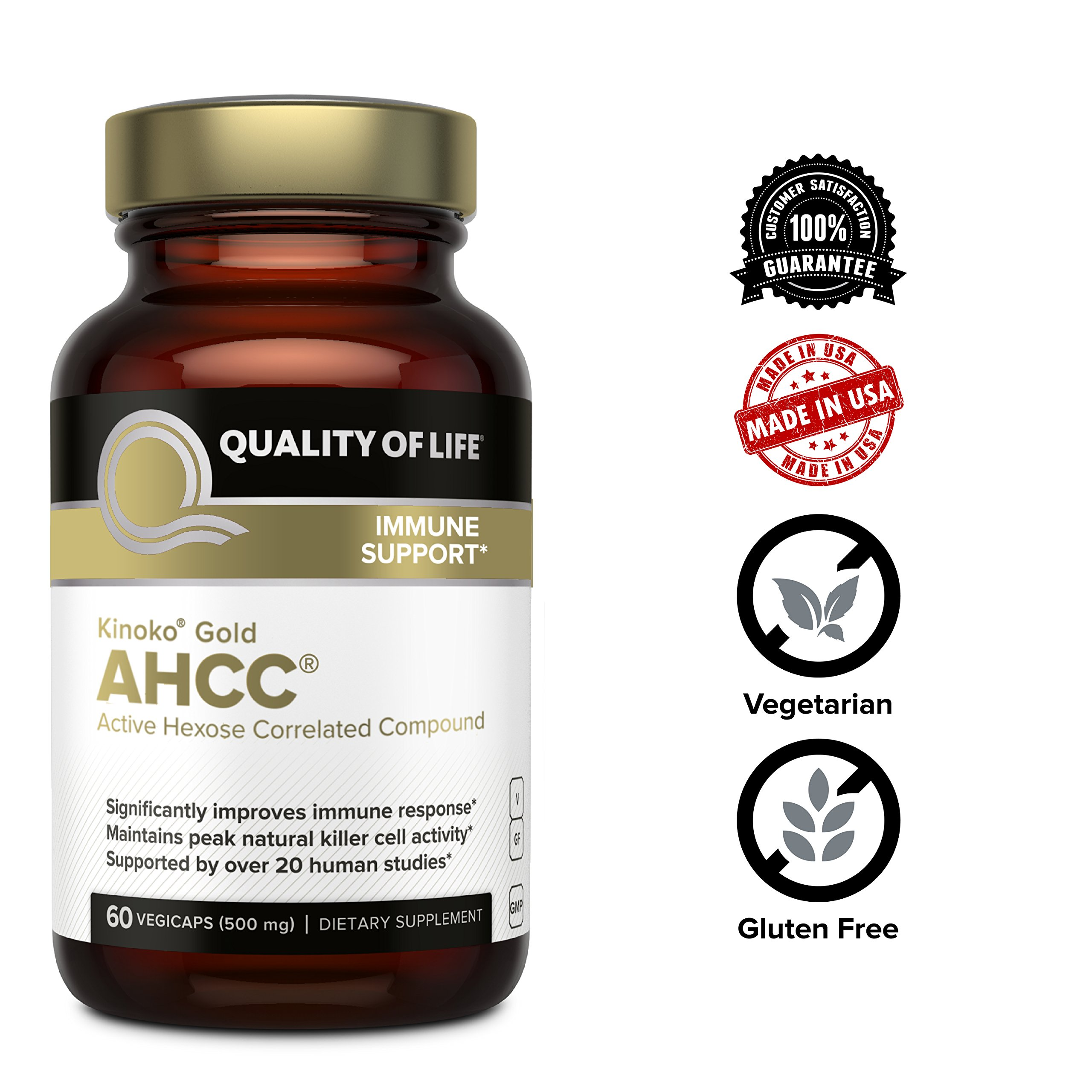 Premium Kinoko Gold AHCC Supplement-500mg of AHCC per Capsule-Supports Immune Health, Liver Function, Maintains Natural Killer Cell Activity & Enhances Cytokine Production-60 Veggie Capsules by Quality of Life (Image #6)