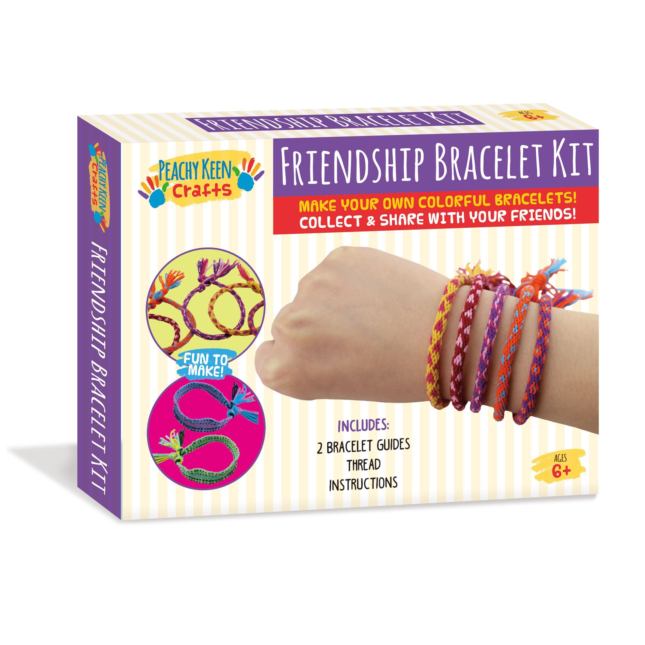 Peachy Keen Crafts Make Your Own Friendship Bracelet Kit - Complete DIY Jewelry Set With String for Kids