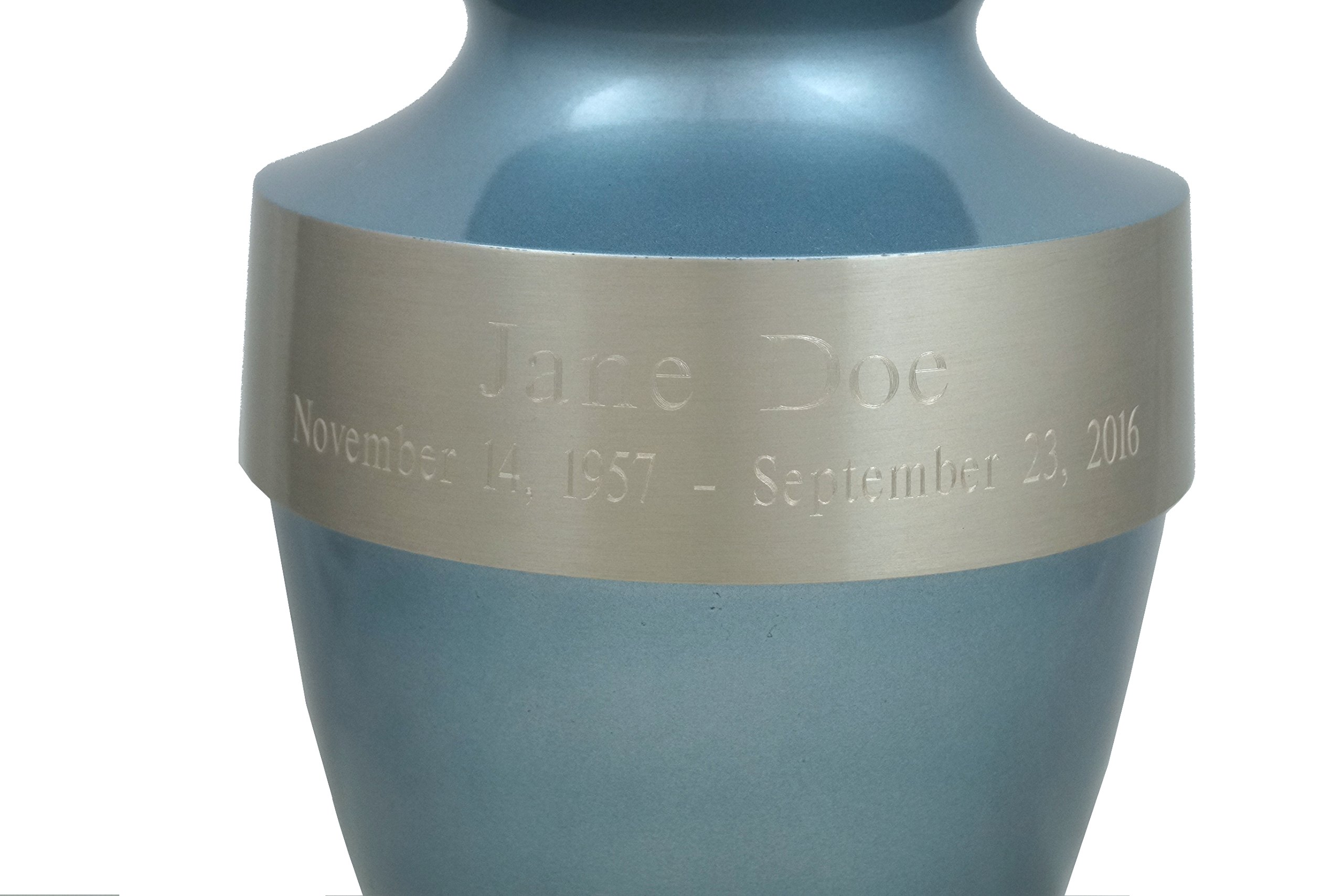 Beautiful Life Urns Athens Blue Custom Cremation Urn Engravable Funeral Urn (Large)