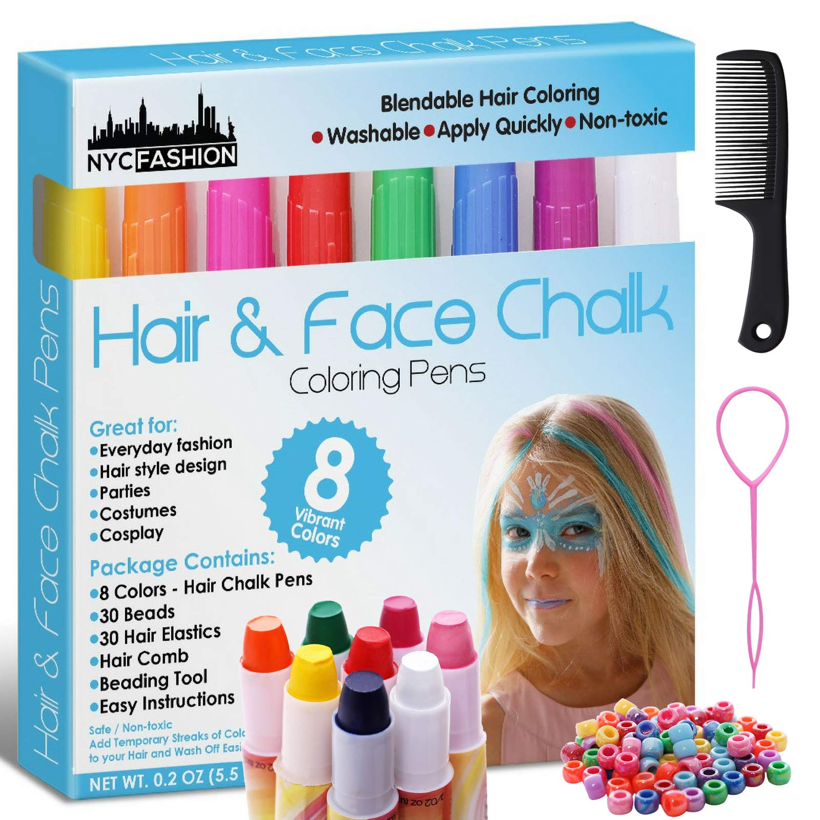 Hair and Face Chalk Pens - 8 Colors - Safe for Hair and Skin - Add Flair of Colorful Streaks to Your Hair and Face (Plain)