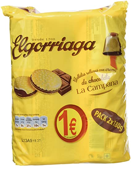 Elgorriaga - Galletas Rellenas Con Crema Sabor Chocolate (2 x 180 g)