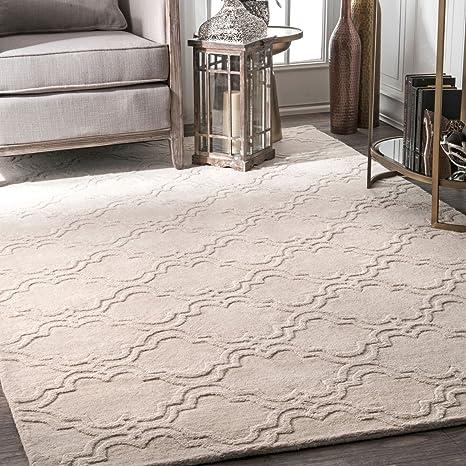 Amazon Com Nuloom Wilhelmina Hand Tufted Wool Area Rug 8 6 X 11 6 Cream Furniture Decor