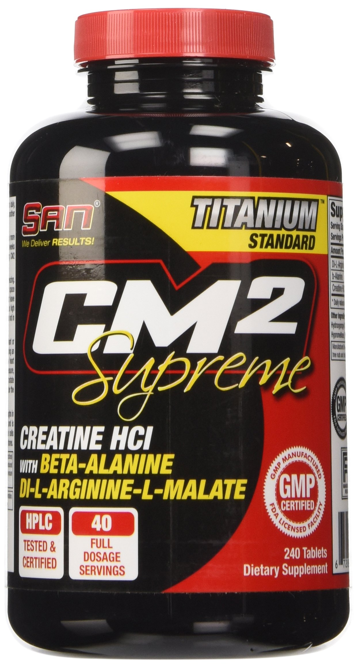 SAN Nutrition CM2 Supreme Creatine Supplement with Beta-Alanine & Di-L-Arginine-L-Malate, 240 Count