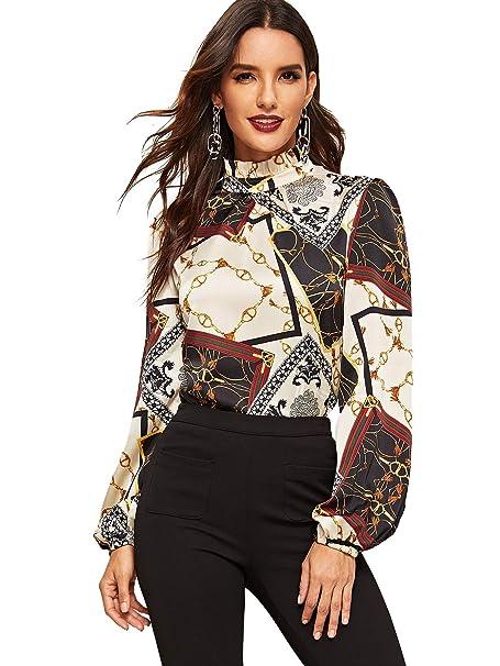 77f73a42 Romwe Women's Elegant Striped Stand Collar Workwear Blouse Top ...