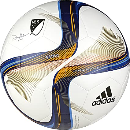 Amazon Com Adidas Performance 2015 Mls Glider Soccer Ball White Blue Lucky Orange Size 4 Sports Outdoors