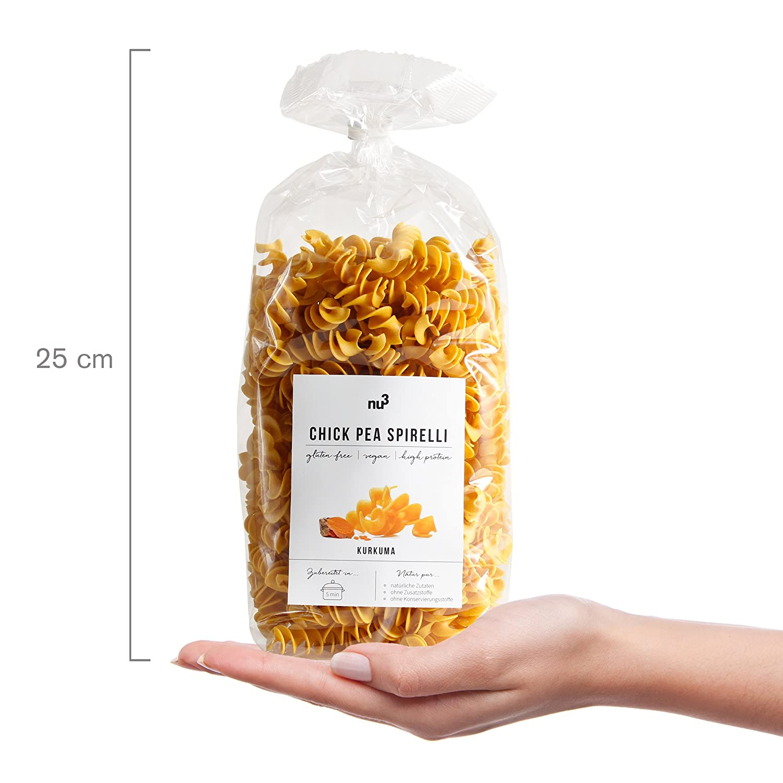 nu3 Low carb pasta de garbanzo con cúrcuma | 250g de fideos fusilli | Pasta sin gluten y sin harina | Fideos veganos ricos en proteína y fibra dietética ...