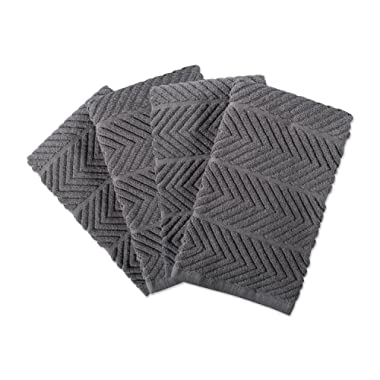 DII 100% Cotton, Ultra-Absorbent, Cleaning, Drying, Everyday Home Basic, Luxury Kitchen Chevron Dishtowel, 16 x 19 Set of 4-Gray