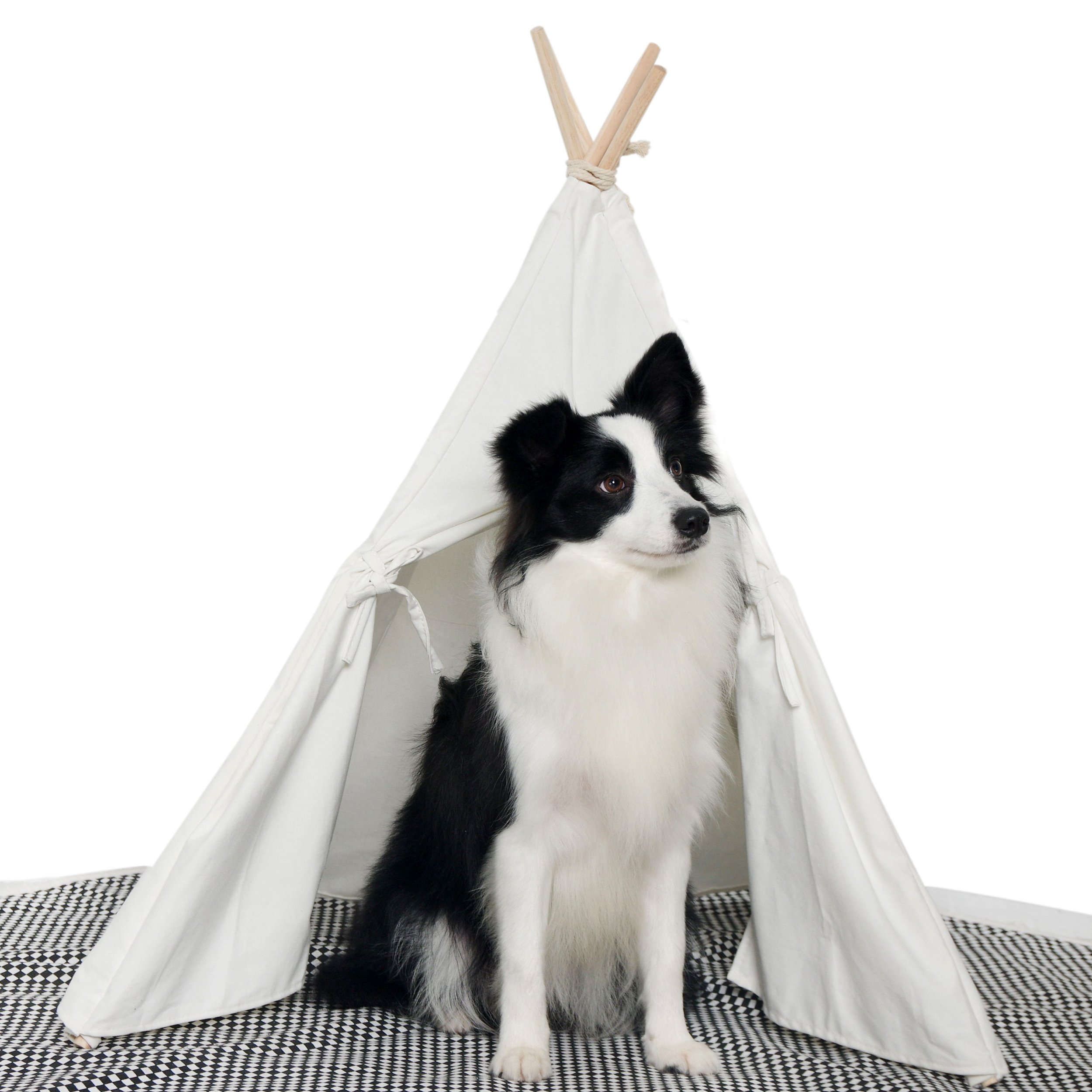 little dove HAN-MM Pet Teepee Dog Toy Tent Classical Pure White Canvas Style