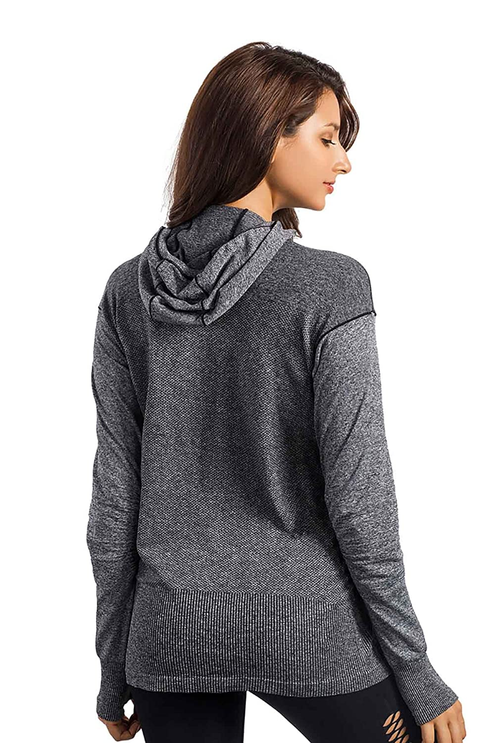MD Womens Cowl Neck Lightweight Yoga Sport Pullover Hoodies Long Sleeve Running Top Sweatshirt with Thumb Holes