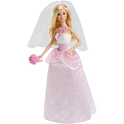 Barbie Bride Doll in White and Pink Dress with Veil and Bouquet: Toys & Games