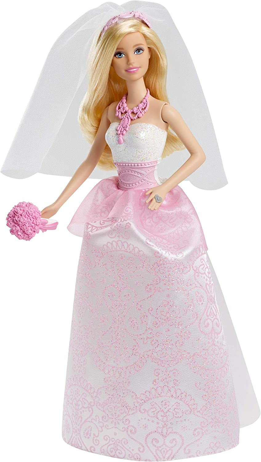 Barbie Bride Doll in White and Pink Dress with Veil and Bouquet