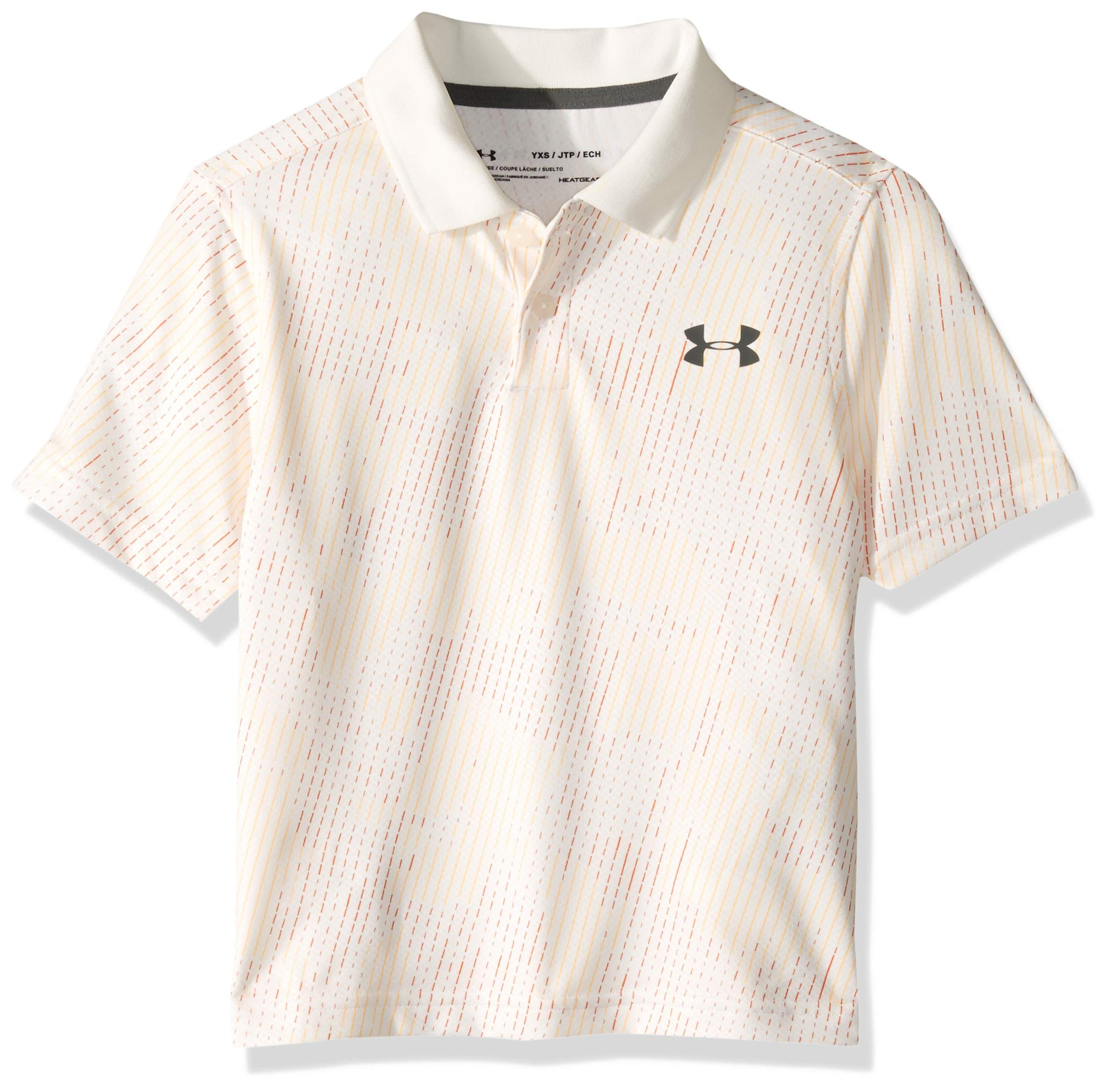 Under Armour Boys' Performance Polo 2.0 Novelty, White//Pitch Gray, Youth Small by Under Armour