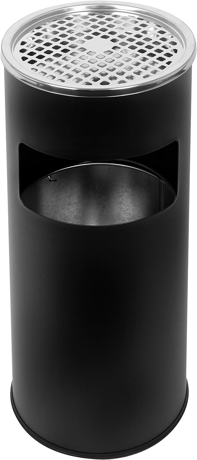 Standaschenbecher mit herausnehmbaren Mülleimer, Standabfallbehälter mit Aschenbecher für draußen, Standascher, 30 Liter in schwarz by Floyen Home
