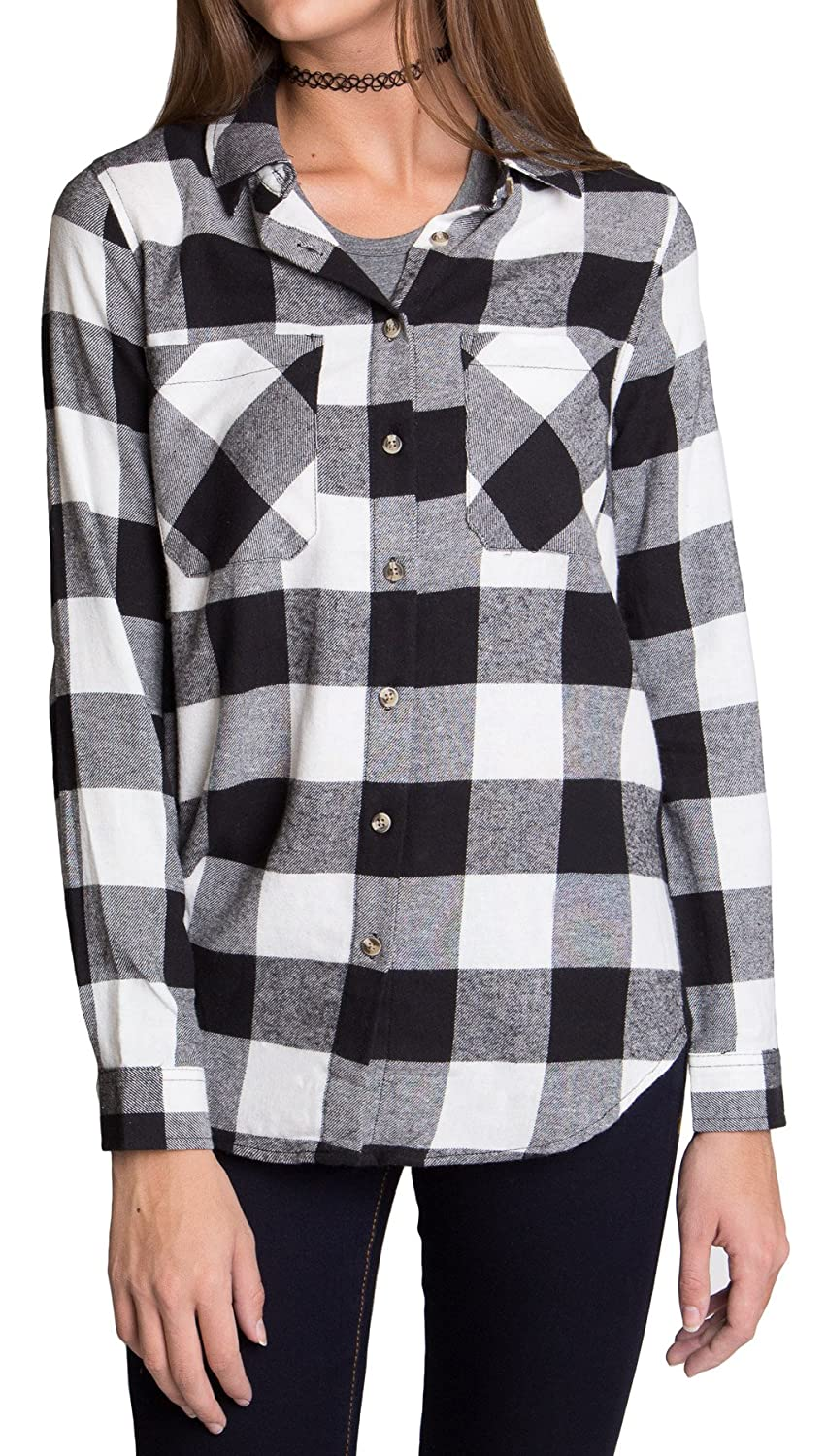 Women's Roll-Up Sleeve Plaid Check Flannel Shirt