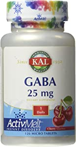 Kal 25 Mg GABA Cherry Tablets, 120 Count