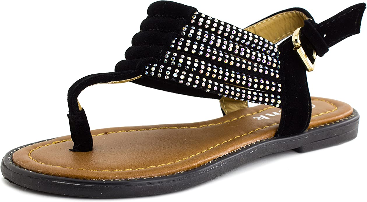 Meckior Toddler Kids Girls Classical Gladiator Flat Sandals Rome Shoes(Toddler Little Kids)