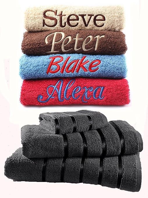 Juego de toallas bordadas personalizadas, ideal para regalo. Ponga cualquier nombre | Toalla de