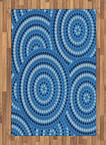 Amazon Com Lunarable Navy Blue Area Rug Abstract Aboriginal Ethnic