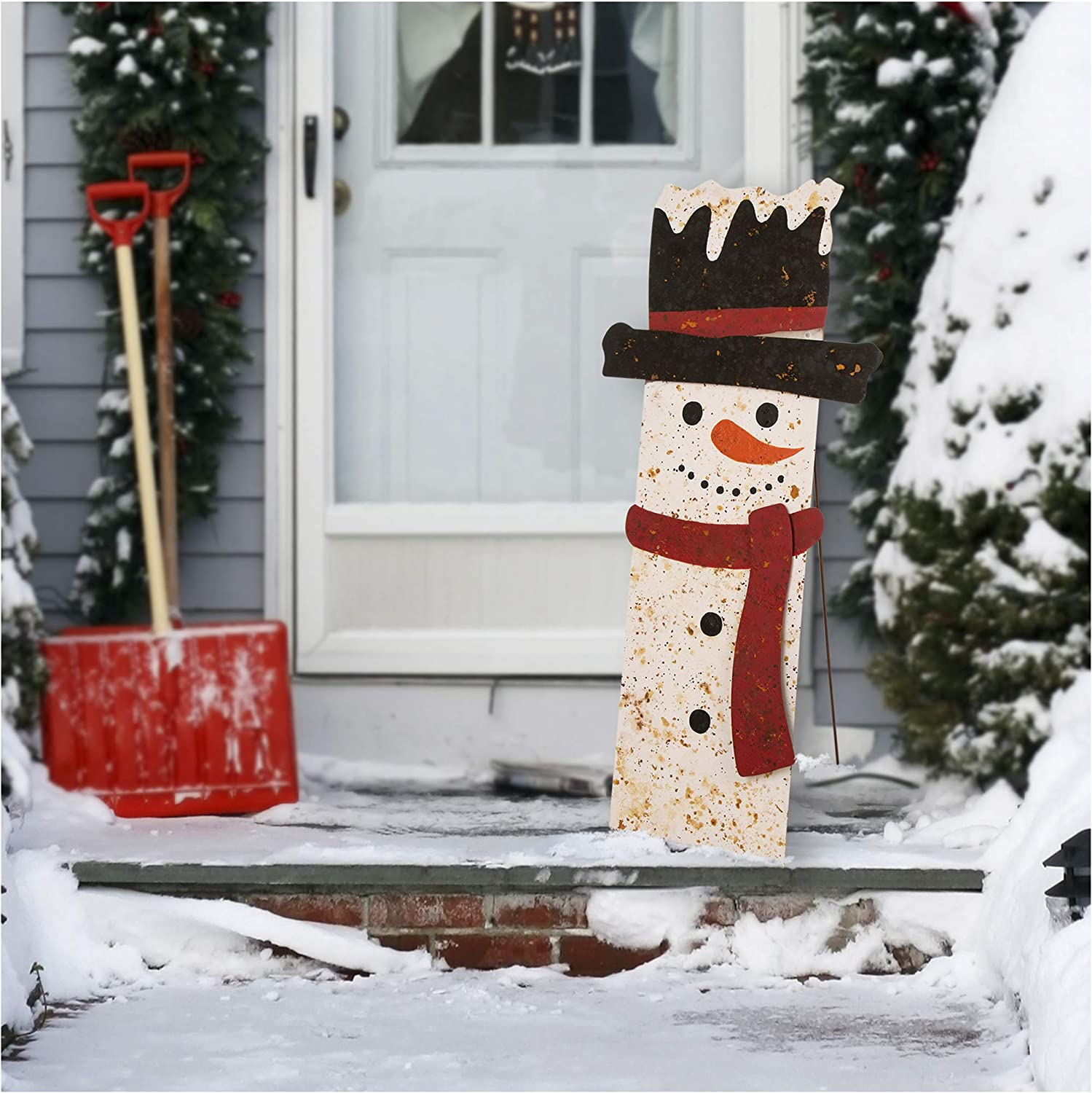 "Glitzhome 35.98"" H Rustic Metal Smile Snowman Sign Standing Vertical Porch Sign for Front Door Wall Indoor Outdoor Christmas Décor"