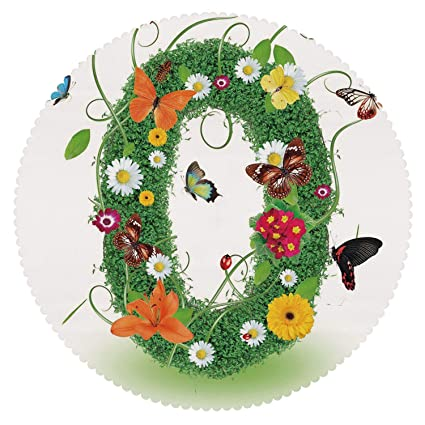 Amazon Com Round Tablecloth Letter O Spring Season Alphabet With