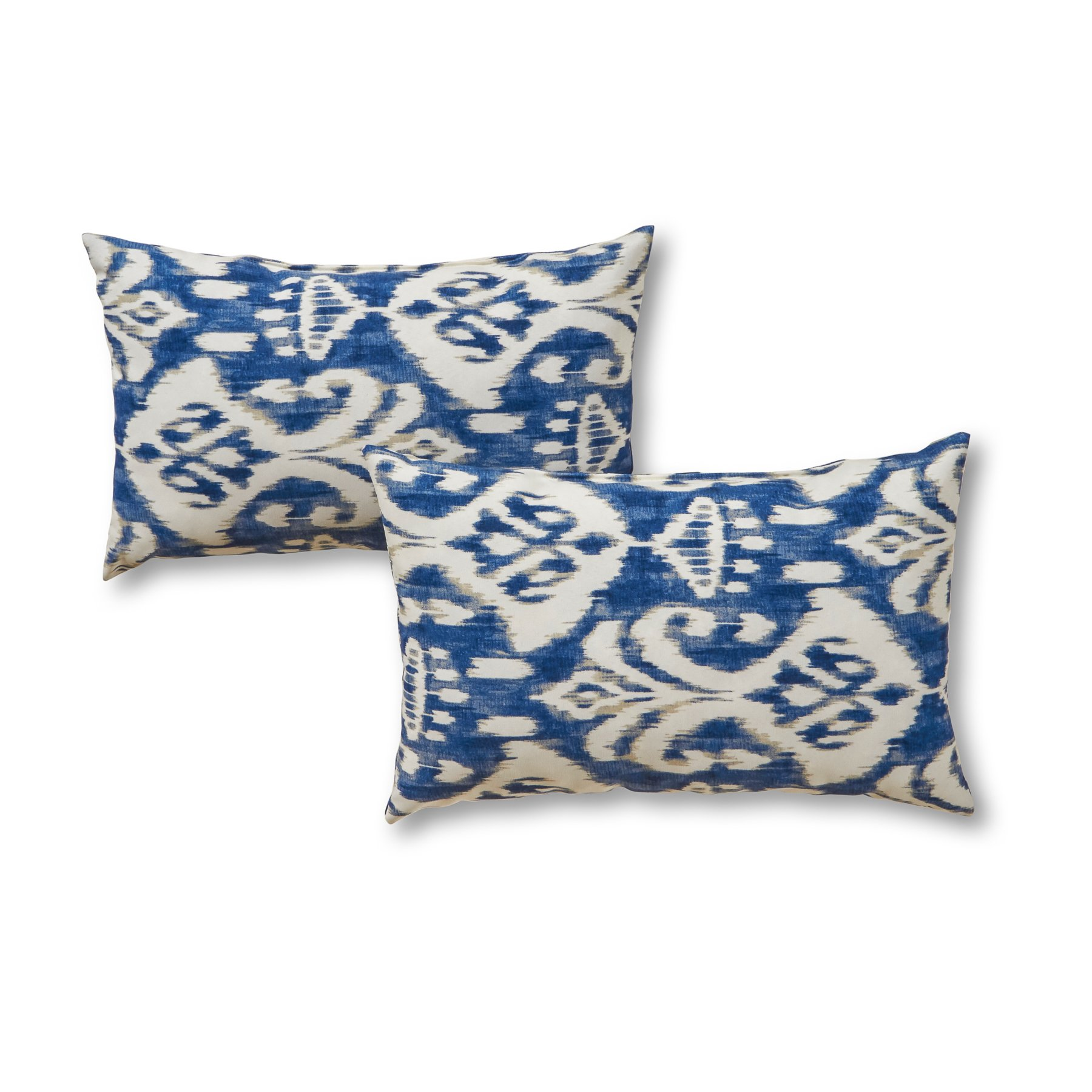 Greendale Home Fashions Rectangle Outdoor Accent Pillows in Coastal Ikat (Set of 2), Azule