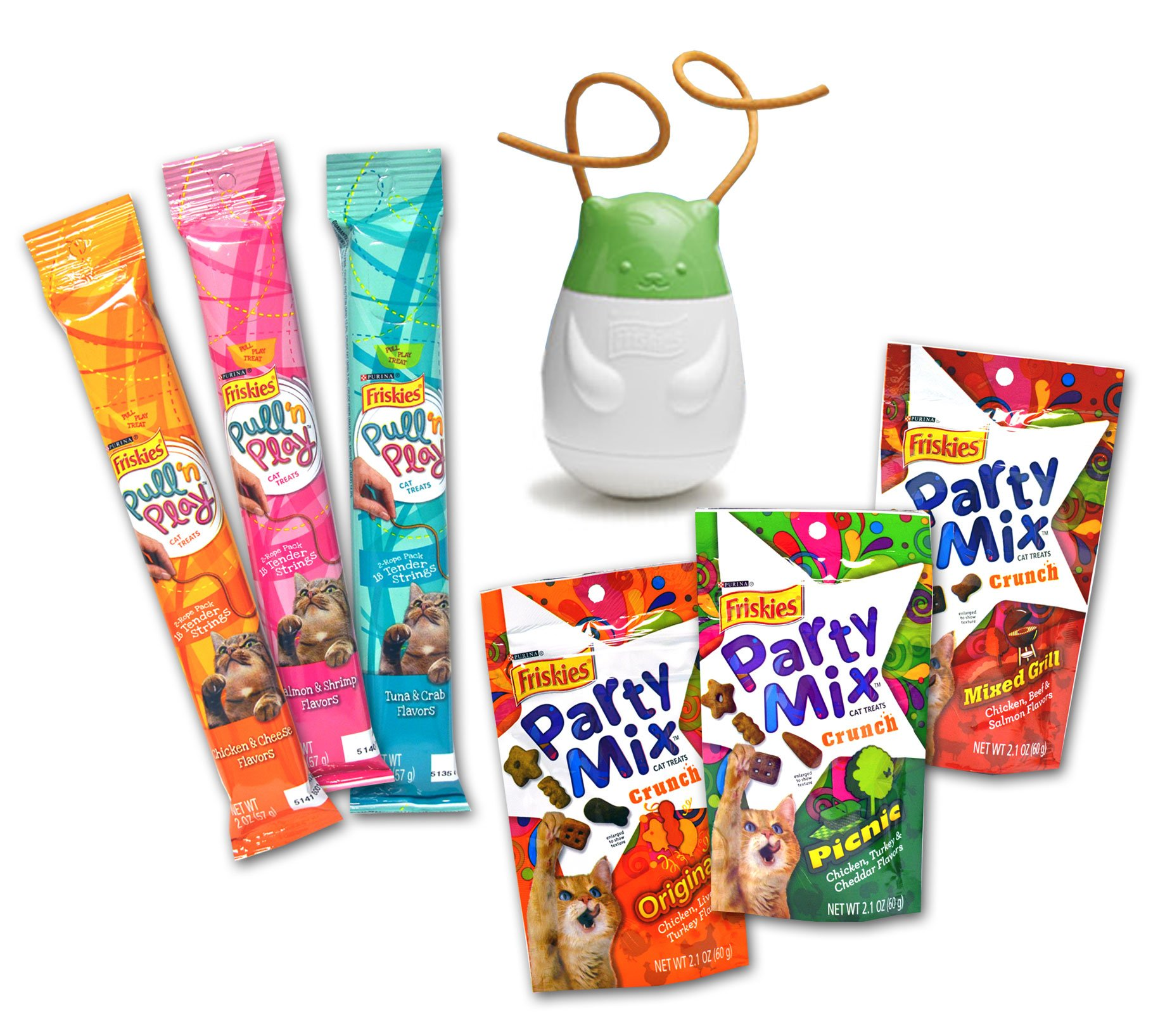 Purina Friskies Cat Treats, Pull 'n Play Toy and Treat Variety Pack - 7 Total Items (1 Wobbert Wobble Toy, 3 Friskies Party Mix Crunch Treat Flavors, & 3 Pull 'n Play Snack Tender String Snack Flavors)