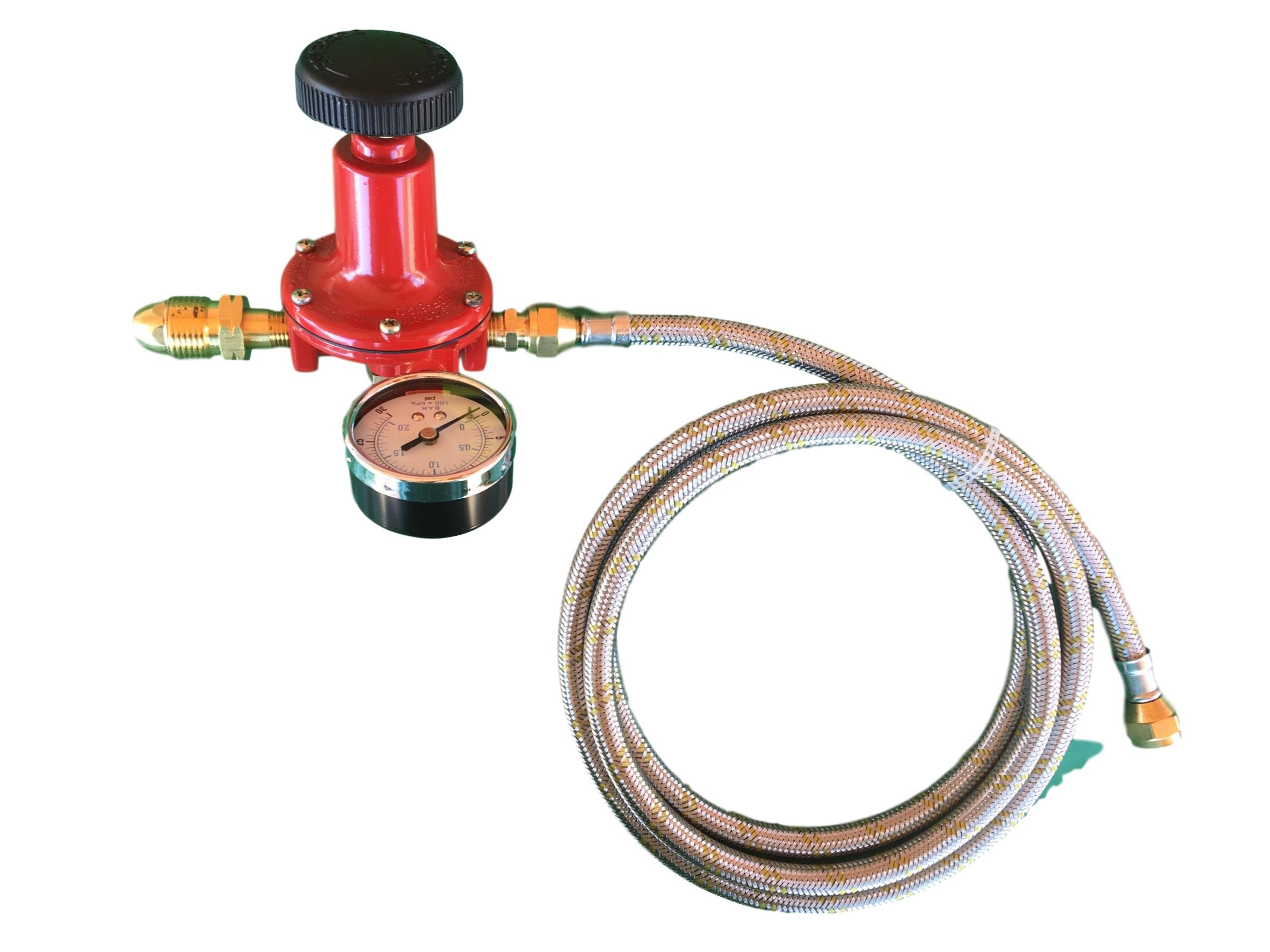 Propane LP Gas Adjustable 0-30psi High Pressure Regulator POL Connector, Gauge and 12ft Stainless Steel Braided Hose