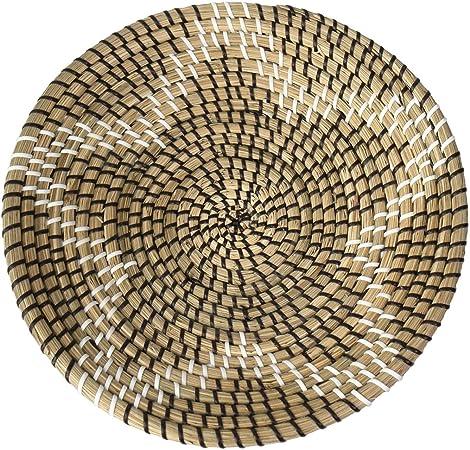 Comprar Made Terra Bol natural de cesta de frutas tejidas | Hecho a mano Seagrass Bowl Decorativo Elegante Rústico Decoración Boho Tapiz | Gran regalo de inauguración de la casa (estrella negra)