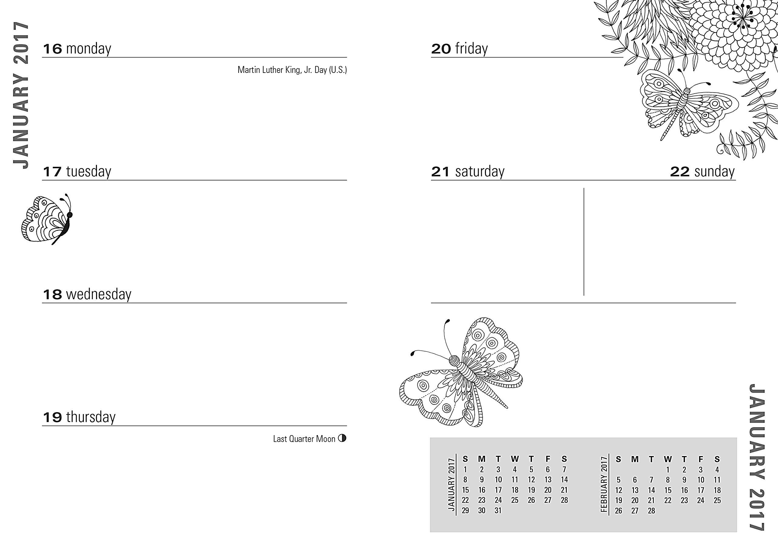 2017 Zen Garden Weekly Planner 16 month Adult Coloring Calendar Peter Pauper Press Amazon Books