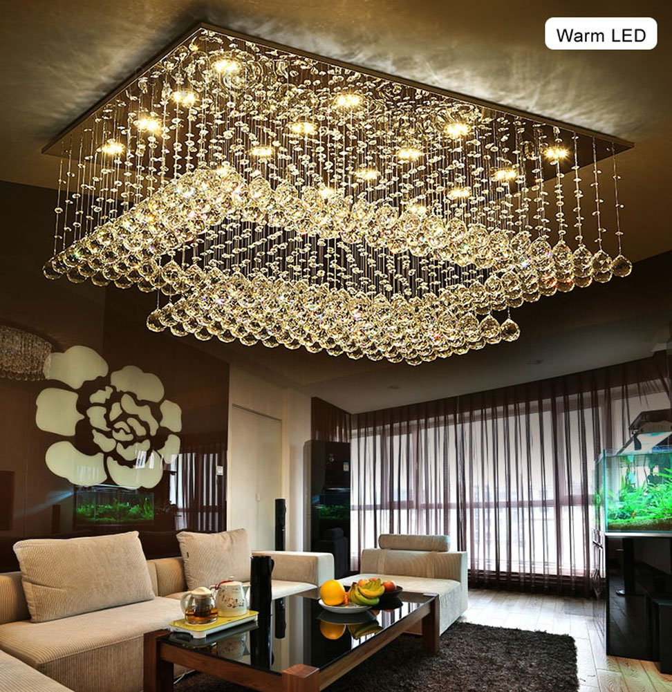 Siljoy modern contemporary rectangular chandelier for living room siljoy modern contemporary rectangular chandelier for living room flush mount ceiling lighting fixture crystal chandelier h14xw36xdepth24 16 led lights aloadofball Image collections