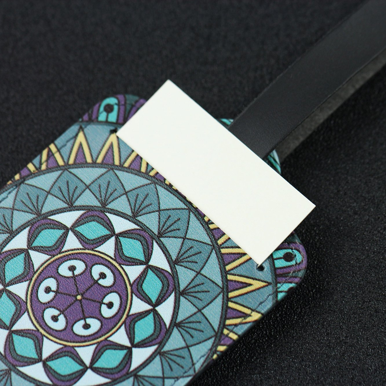 Lizimandu 4 Pack PU Leather Luggage Tags Suitcase Labels Bag Travel Accessories Van Gogh Flower Set of 4