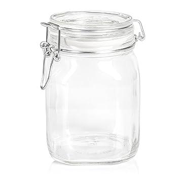 Gummiring luftdicht transparent gro/ße Vorratsbeh/älter Relaxdays 12 x Einmachglas Vorratsgl/äser B/ügelverschlus 1,5 l Gastro