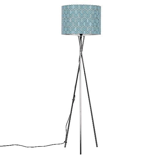 Modern brushed chrome metal tripod floor lamp with a bluewhite modern brushed chrome metal tripod floor lamp with a bluewhite geometric cylinder shade aloadofball Choice Image