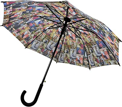 Auto Open-Black Magazine Cover Collage Michelle Obama Printed Light Weight Bubble Dome Compact Retractable Folding Umbrella With Sleeve