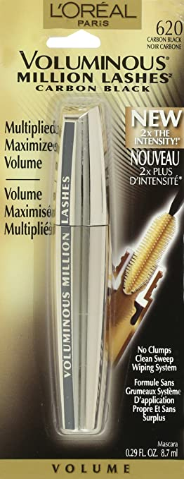 7b0774777df Amazon.com: L'Oreal Paris Makeup Voluminous Million Lashes Mascara  Volumizing, Defining, Smudge-Proof, Clump-Free Lengthening, Collagen  Infused Eye Makeup ...