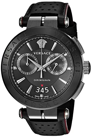 c9bcbb901 Versace Men's Aion Chrono Stainless Steel Quartz Watch with Leather  Calfskin Strap, Black, 24