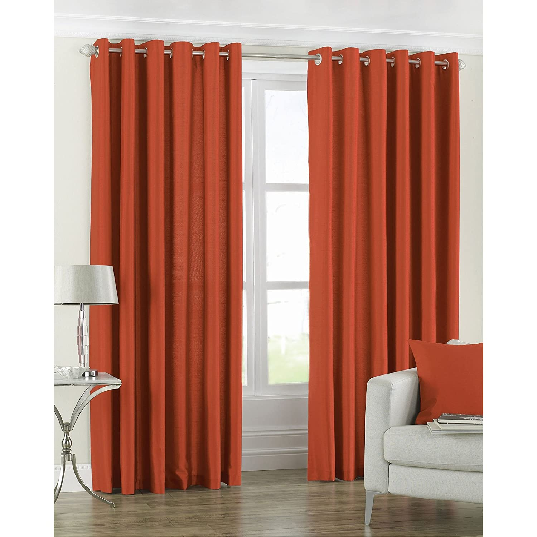 Amazon com riva home fiji faux silk ringtop curtains 66 x 54 inch burnt orange home kitchen