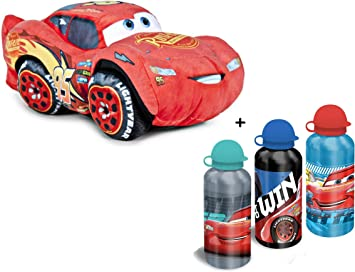 Cars - Pack Peluche Coche Rojo Rayo Mcqueen 10