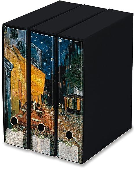 Raccoglitori Per Ufficio Decorati.Kaos Set Da 3 Raccoglitori Ad Anelli Dorso 8 Terrazza Del Caffe Vincent Van Gogh Misure Set 26 8x35x29 Cm
