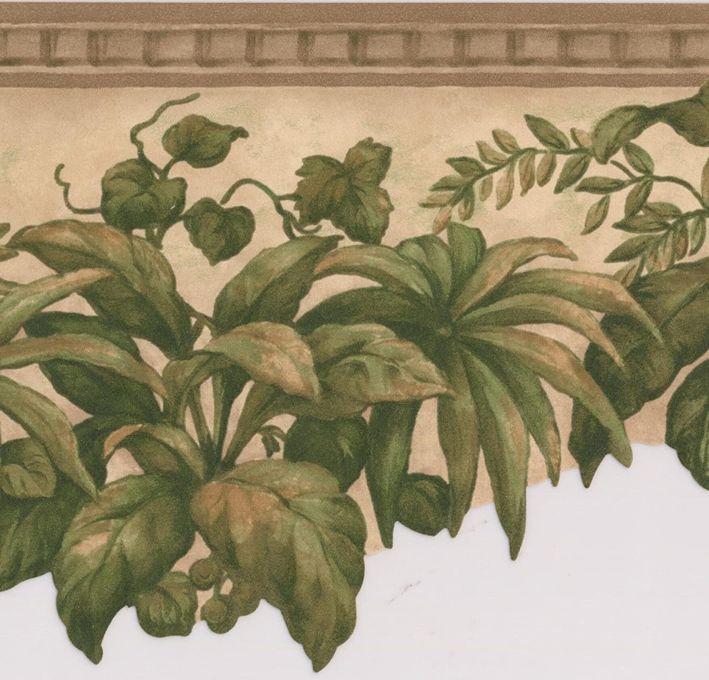Green Plants Under Ceiling Beige Floral Wallpaper Border Retro