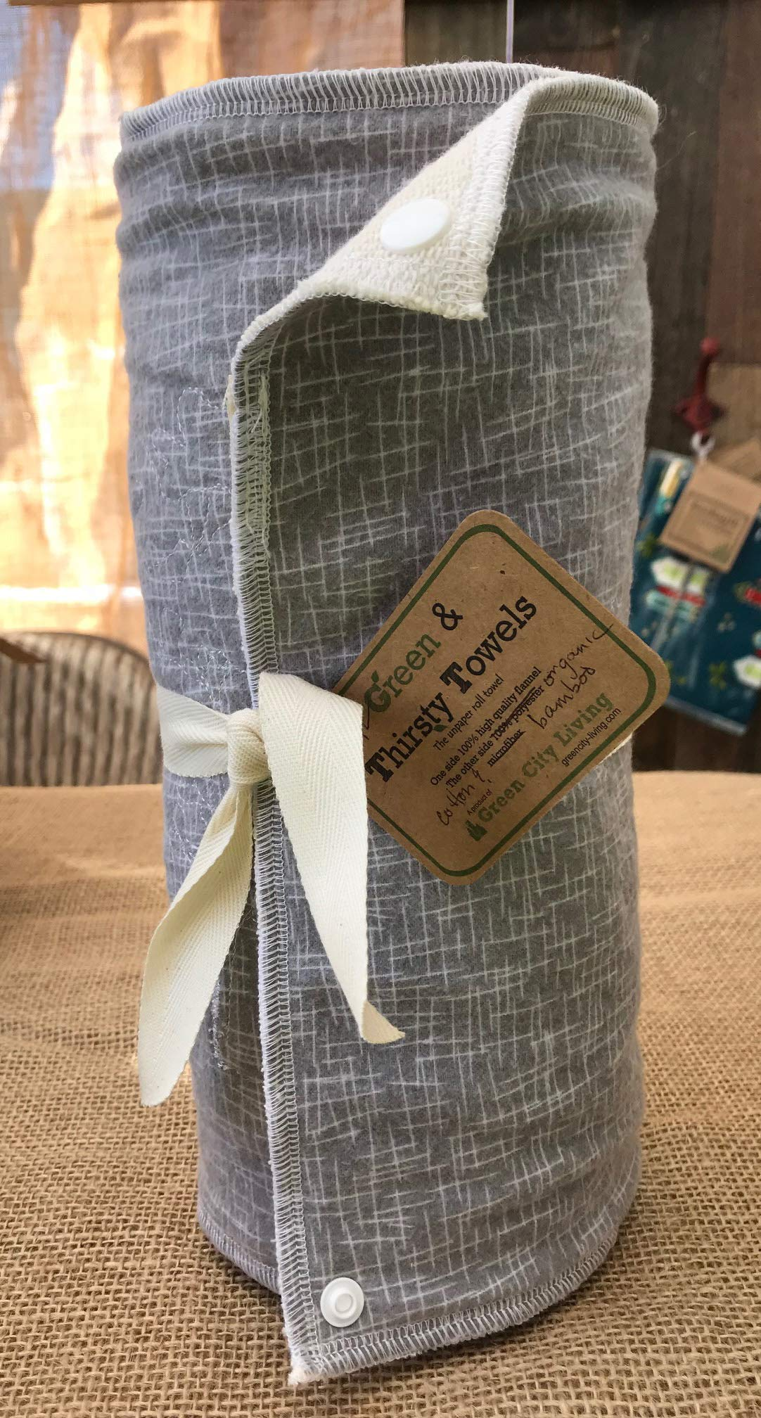 Green and Thirsty Unpaper Towels: GRAY HASHTAG Organic Cotton & Bamboo by GreenCityLiving