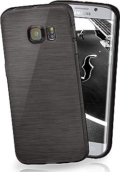 MoEx® Coque très Fine en Silicone Compatible Samsung Galaxy S6 Edge Plus | Style Aluminium brossé, Noir