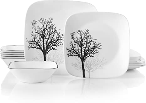 Amazon Com Corelle Service For 6 Chip Resistant Timber Shadows Dinnerware Set 18 Piece Dinnerware Sets
