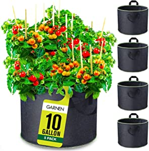 Garnen 10 Gallon Garden Grow Bags (5 Packs), Vegetable/Flower/Plant Growing Bags, Heavy Duty Thickened Nonwoven Fabric Smart Pots Planter with Reinforced Handles for Outdoor and Indoor Planting