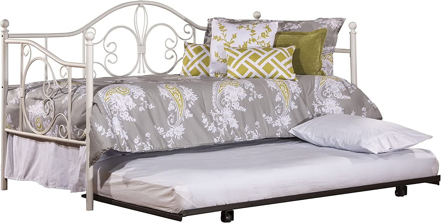 """Hillsdale Furniture Hillsdale Ruby Suspension Deck and Roll Unit, Textured White Daybed with Trundle, 44.25"""" H x 78.5"""" L x 39"""" D,"""