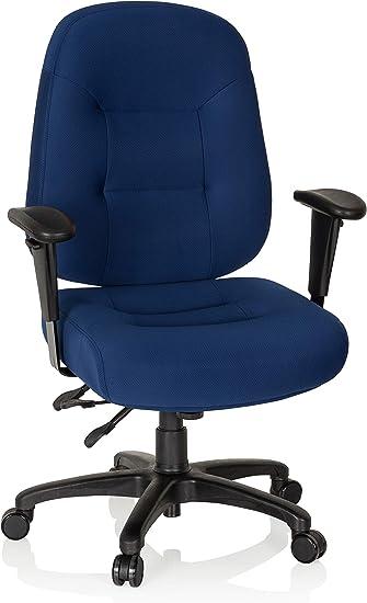 hjh OFFICE 702301 Profi Bürostuhl Zenit XXL Stoff Blau ergonomischer Drehstuhl bis 150kg belastbar