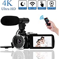 "4K Camcorder Videokamera Vlogging Kamera 30MP WiFi Steuerung 3,0 "" Touchscreen Digitalvideokamera für YouTube Nachtsicht Camcorder Videokamera mit externem Mikrofon"