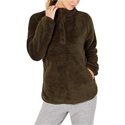 32 DEGREES Women's Half-Snap Fleece Top Secret Garden Medium at Women's Clothing store