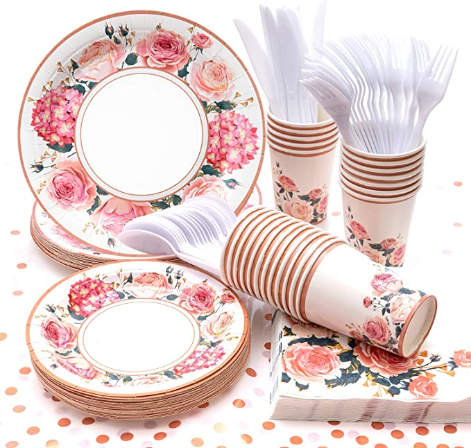 Vintage Floral Party Supplies Serves 24 Disposable Paper Plates Napkins Cups Knives Spoons Forks Tablecloth Tableware Sets For Baby Shower Birthday Bridal Shower Tea Party Amazon Ca Home Kitchen